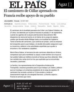 El País - El camionero de Cúllar apresado en Francia recibe apoyo de su pueblo