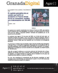 Granada Digital - El copiloto granadino de un camión que sufrió un accidente en Francia donde murió su compañero, recibirá una indemnización de 190.000€