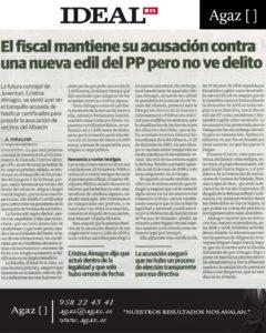 Ideal - El fiscal mantiene su acusación contra una nueva edil del PP pero no ve delito