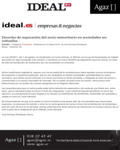 Ideal - Derecho de separación del socio minoritario en sociedades no cotizadas