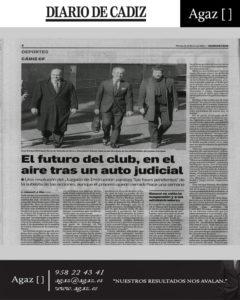 Diario de Cádiz - El futuro del club, en el aire tras un auto judicial