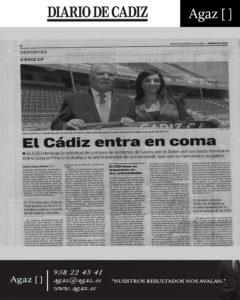 Diario de Cádiz - El Cádiz entra en coma