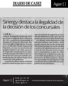 Diario de Cádiz - Sinergy destaca la ilegalidad de la decisión de los concursales