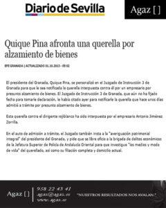 Diario de Sevilla - Quique Pina afronta una querella por alzamiento de bienes